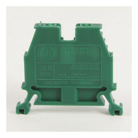 1492-W IEC Terminal Block, Space-Saver Feed-Through Blocks, 2.5 mm (# 24 AWG - # 12 AWG), Single-circuit terminal block, Red,