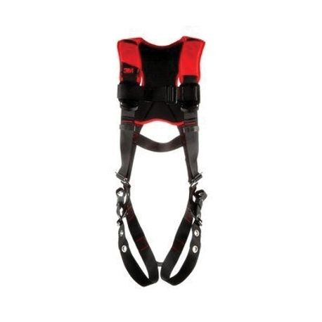 3M Protecta Fall Protection 1161419 Harness, XL, 420 lb Load, Polyester Strap, Tongue Leg Strap Buckle, Parachute Torso/Pass-Thru Chest Strap Buckle, Zinc Plated Steel Hardware, Black