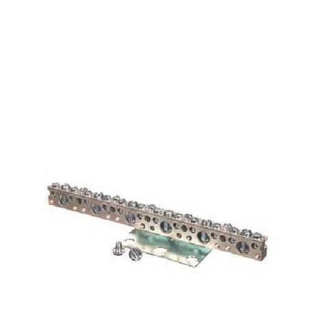 Siemens ECLX074M Grounding Bar, 7 in L, 14 to 4 AWG, 14 to 1/0 AWG Aluminum/Copper Conductor, 23 Terminals