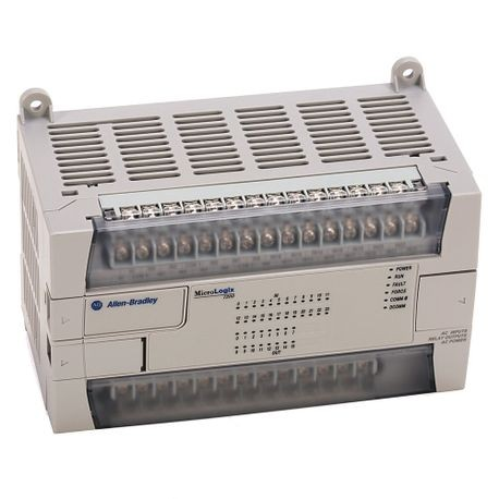 1762 MicroLogix 1200 System, MicroLogix 1200, 24V dc power, (20) standard 24V dc and (4) fast 24V dc digital inputs, (8) relay outputs, (7) standard 24V dc FET outputs, (1) fast 24V dc FET output, with Programming/HMI Port