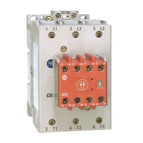100S-C Safety Contactor, 85A, Line Side, 110V 50Hz / 120V 60Hz, 3 N.O., 1 N.O. 4 N.C., Bifuracated Contact
