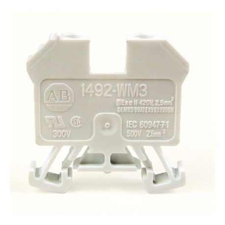 1492-W IEC Terminal Block, One-Circuit Mini Feed-Through Block, 2.5 mm (# 24 AWG - # 12 AWG), Standard Feedthrough, White,