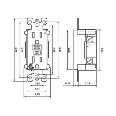 leviton� smartlockpro™ 7899-w 7899 duplex feed through monochromatic gfci  receptacle, 125 vac, 20 a, 2 poles, 3 wires, white | smc electric