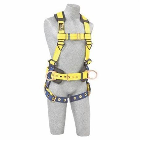 3M DBI-SALA Fall Protection Delta™ 1101655 Multi-Purpose Harness, L, 420 lb Load, Repel™ Polyester Strap, Tongue Leg Strap Buckle, Aluminum/Steel/Stainless Steel Torso Buckle/Stainless Steel Grommet Leg Buckle/Steel Chest Buckle Hardware, Navy/Yellow