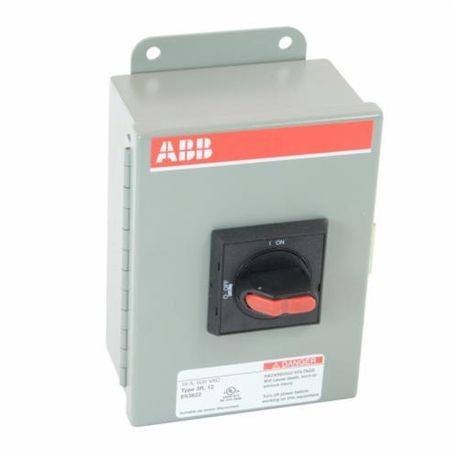 ABB EOT16U3M3-S Heavy Duty Non-Fusible Enclosed Disconnect Switch, 600 VAC, 16 A, 10 hp at 480/600 VAC, 3 Poles