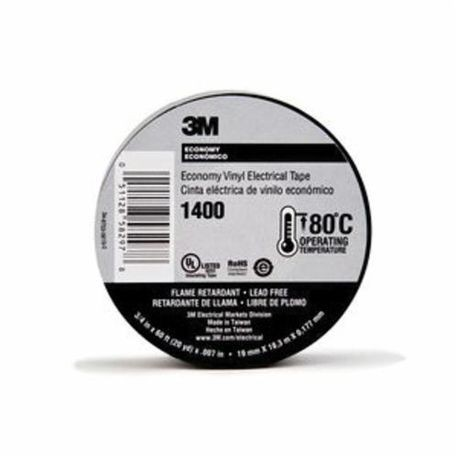 3M™ 1400 Economy Electrical Tape, 3/4 in W x 60 ft Roll L, 7 mil THK, Vinyl, Black