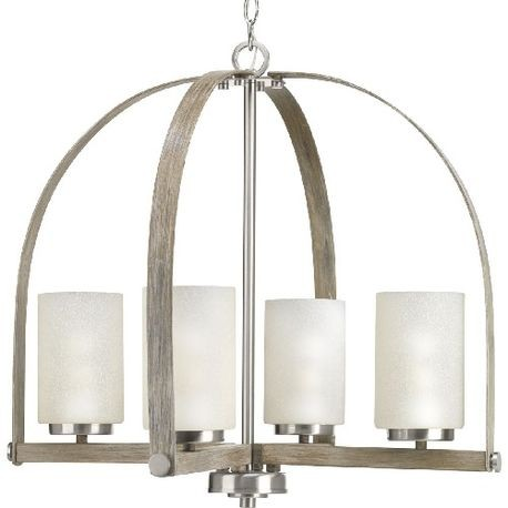 Progress Lighting® P400027-009 Aspen Creek Casual/Traditional Chandelier, (4) A19 Incandescent Lamp, 120 VAC, Brushed Nickel Plated Housing