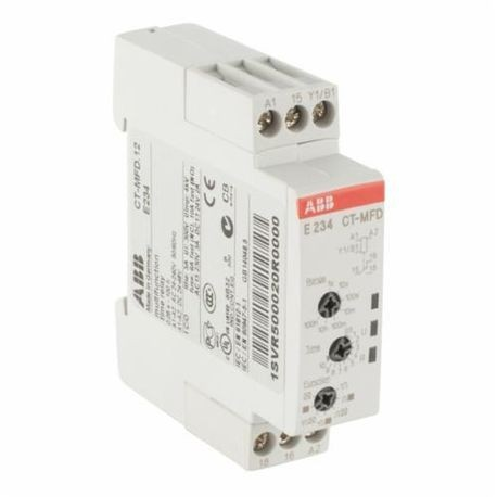 ABB 1SVR500020R0000 CT-D Electronic Timing Relay, 0.05 sec to 100 hr Time Setting, 1CO SPDT Contact Form