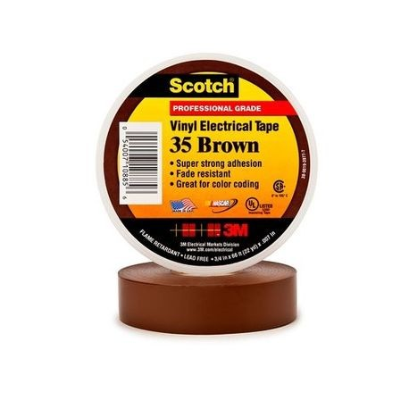 3M™, Scotch 35, Electrical Color Coding Tape, Vinyl, Brown, 1/2 Inch x 20 ft, 7 mil