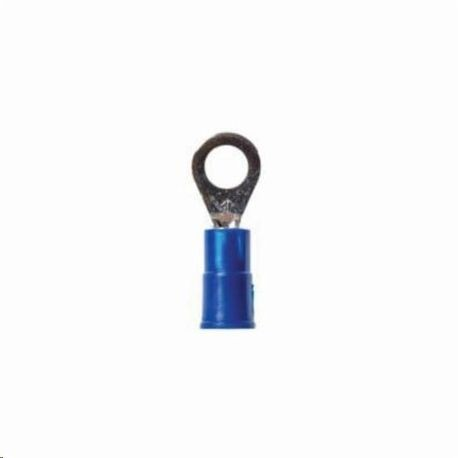 3M™ Scotchlok™ 051128-57438 Disconnect Insulated Standard Ring Terminal, 16 to 14 AWG Conductor, 0.73 in L, Butted Seam Barrel, Vinyl, Blue