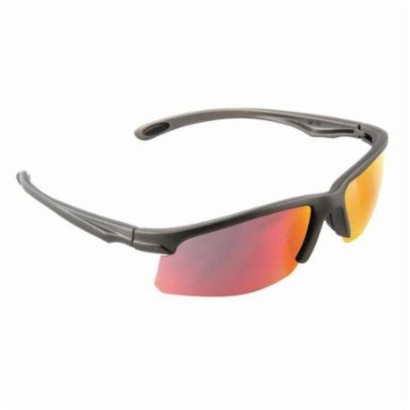 3M™ 078371-65889 Light Weight Protective Sunwear, Universal, Half Framed Gray Frame, Anti-Fog Red Mirror Lens