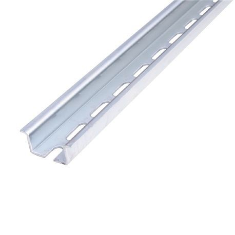ABB 010159826 PR50 TS35/CF6 Pre-Punched Symmetrical Mounting Rail, 78-3/4 in L x 1.34 in W x 0.61 in H, Galvanized Steel