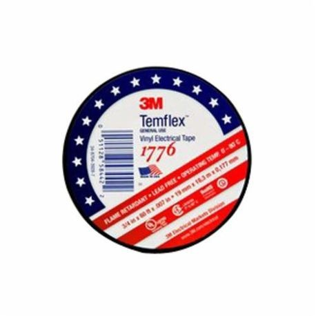 3M™ 1776 Electrical Tape, 3/4 in W x 60 ft Roll L, 7 mil THK, Black