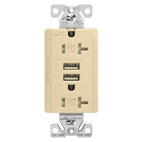 Admirable Cooper Wiring Arrow Hart Tr7746V Box Duplex Receptacle And Usb Charger 125 Vac 20 A 5 Vdc 2 1 A 2 Poles 3 Wires Wiring Database Gramgelartorg