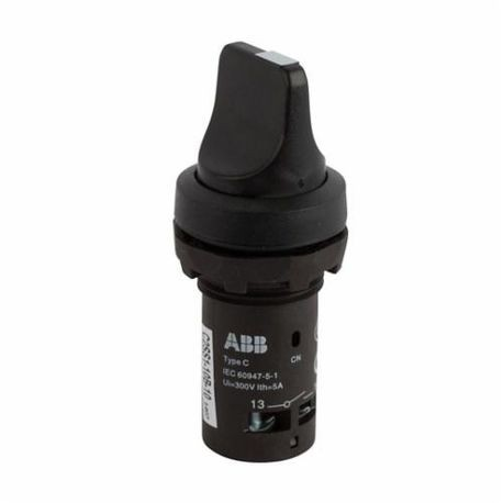 ABB C2SS110B-10 Compact Non-Illuminated Selector Switch, 22 mm, 1NO, Short Handle Operator, Black