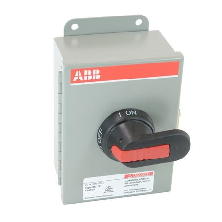 ABB EOT32U3M3-P Heavy Duty Non-Fusible Enclosed Disconnect Switch, 600 VAC, 40 A, 20 hp at 480 VAC/25 hp at 600 VAC, 3 Poles