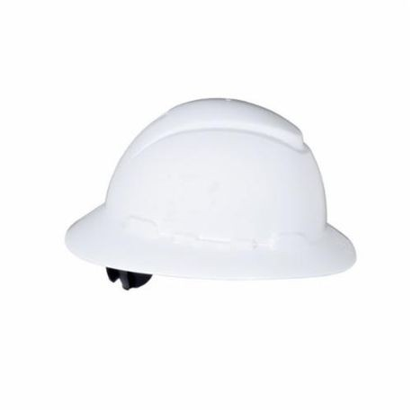 "3M™ 078371-65797 Full Brim Non-Vented Hard Hat With Uvicatorâ""¢ Sensor, White, 4-Point Ratchet Suspension"