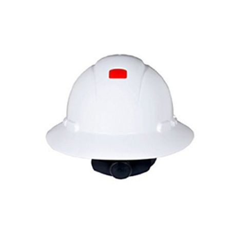 3M™ H-800 Full Brim Unvented Hard Hat With Uvicator™ Sensor, White, HDPE, 4-Point Ratchet Suspension, Class E and G