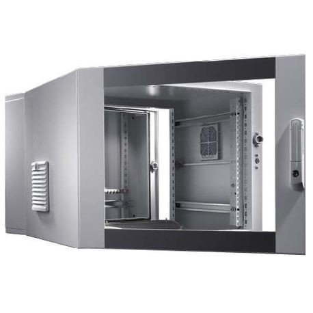 Rittal 7721535 Pre-Configured Compact Enclosure, 1012 mm L x 600 mm W x 673  mm D, NEMA 12/IP54, Steel