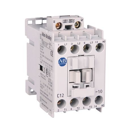 Allen-Bradley, 100-C12B10, 100-C IEC Contactor, Screw Terminals, Line Side, 12A, 1 N.O.  0 N.C. Auxiliary Contact Configuration