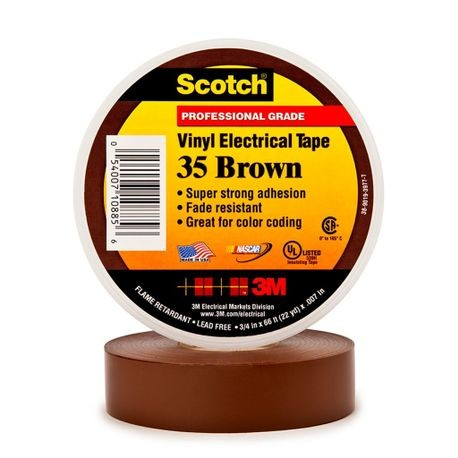 3M™, Scotch 35, Electrical Color Coding Tape, Vinyl, Brown, 3/4 Inch x 66 ft, 7 mil