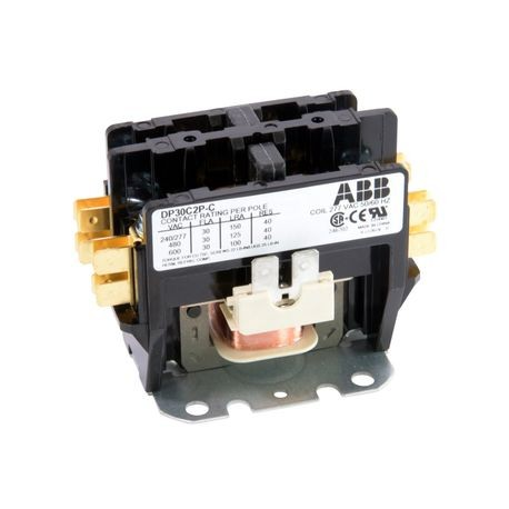 ABB DP30C2P-C Definite Purpose Contactor, 277 VAC Coil, 30 A, 2NO Contact, 2 Poles