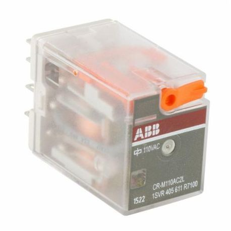 ABB 1SVR405611R7100 CR General Purpose Pluggable Miniature Interface Relay With LED Indicator, 5 mA, 2CO SPDT Contact Form, 110 VAC Coil