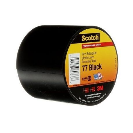 "3M Scotch 77 Fire Retardant Electric Arc Proofing Tape 1-1//2/"" x 20/' x.030/"",Black"