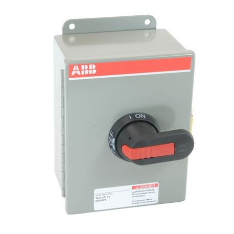ABB EOT30U3M3-P Heavy Duty Non-Fusible Enclosed Disconnect Switch, 600 VAC, 30 A, 20 hp at 480 VAC/30 hp at 600 VAC, 3 Poles