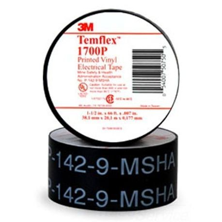 3M™ Temflex™ 1700P General Grade Vinyl Tape, 66 ft L x 3/4 in W x 7 mil THK, Vinyl, Black