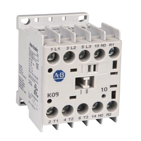 Allen-Bradley, 100-K09D10, Miniature Contactor, Screw Type Terminals, 9 A, System Control Voltage: 110V 50Hz/120V 60Hz, 3 N.O. Main Contacts, 1 N.O. Auxiliary Contact, 1
