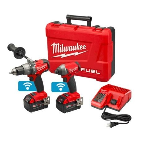 Milwaukee® M18 FUEL™ 2-Tool Cordless Combination Kit With ONE-KEY™ Mobile App, 11 Pieces, 18 Volt, Li-Ion, Red/Black
