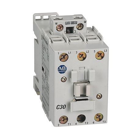 Allen-Bradley, 100-C30KD10, 100-C IEC Contactor, 110V 50/60Hz, Screw Terminals, Line Side, 30A, 1 N.O.  0 N.C. Auxiliary Contact Configuration