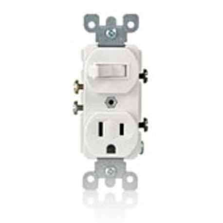 Leviton® 5225 Duplex Style Combination Toggle Switch, 125 VAC ...