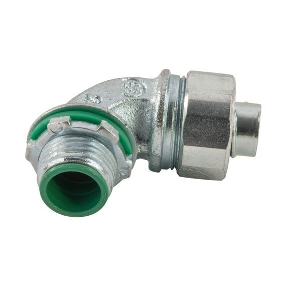 "Liqua-Seal Liquidtight Connector, 90 deg, insulated, 3-1/2"" NPT, zinc plated iron"
