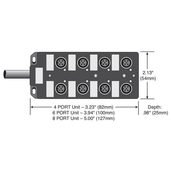 Single Key (M12) Micro-Link Dist Box, 8 Outlet, 10M cable