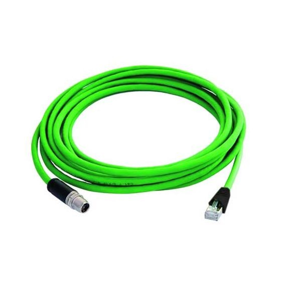 M12X1 X-CODED TO RJ45 ETHERNET CABLE - IP67 RATED - 1M