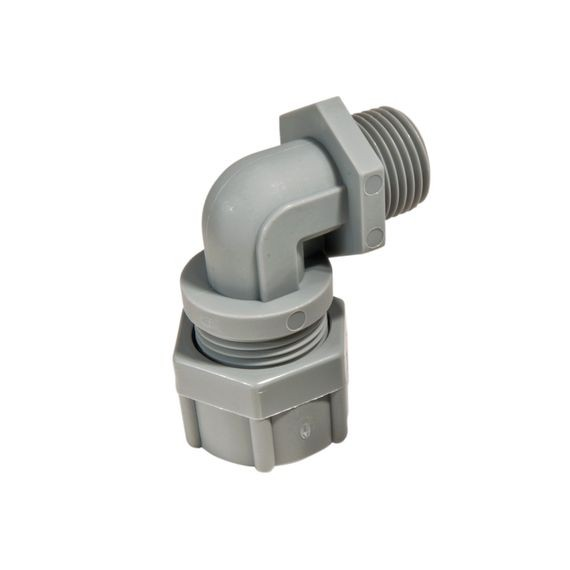 "Cord Connector, nylon, 90 deg, 1/2"" NPT, cable range .438 - .500"