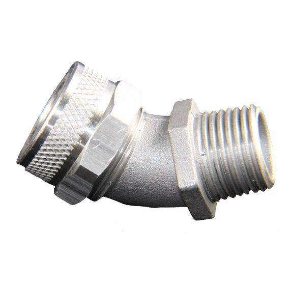 "Cord Grip less bushing, 45 deg, alum, 3/4"" NPT"