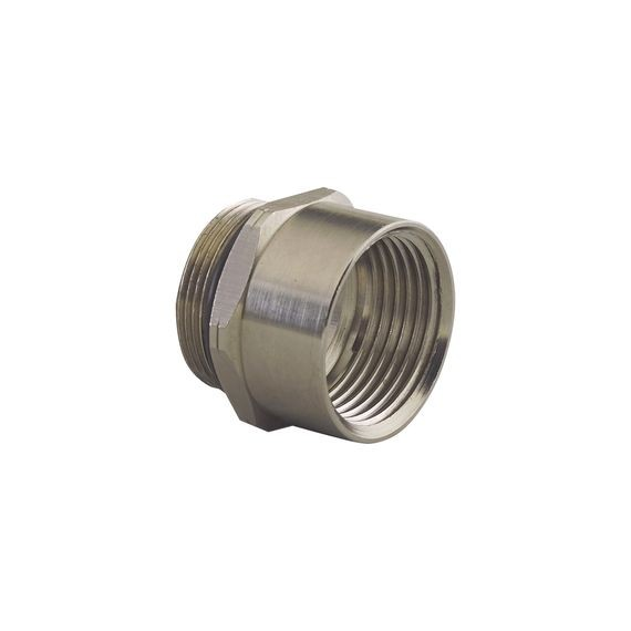 "Theaded Adapter M (ISO) thread, nickel plated alum, external thread M40, internal thread 1"" NPT"