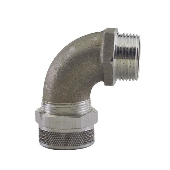 "Cord Grip less bushing, alum, 90 deg, 1"" NPT"
