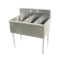 "Advance Tabco 6-43-72-X Square Corner Scullery Sink, 3-compartments, 24""W x 24""D front-to-back x 13"" deep sink compartments, 6""H backsplash, 1-1/2 IPS"