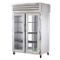 TRUE STA2RPT-2G-2G-HC SPEC SERIES Pass-thru Refrigerator, two-section, stainless steel front & sides, (2) glass doors front & rear with locks