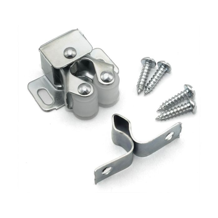"1/2"" High x 1-1/8"" Wide x 1-3/4"" Long Zinc Non-Magnetic Double Roller Catch with Self-Locating Strike Plate"