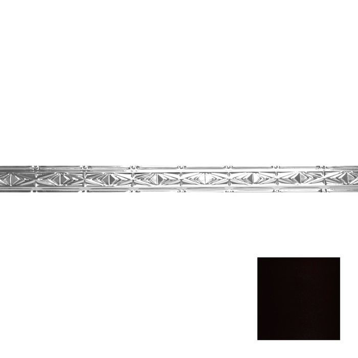 Tin Plated Stamped Steel Cornice | 3-1/2in H x 3in Proj | Black Finish | 4ft Long