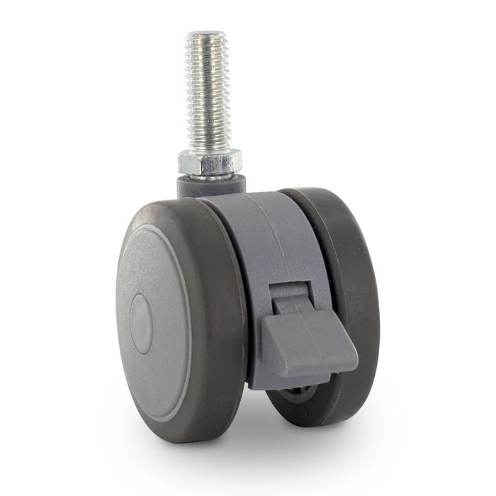 "2"" Diameter Two-Tone Gray Swivel Twin Wheel Series Institutional Caster With Brake, 3/8-16 x 1"" Long Threaded Stem"