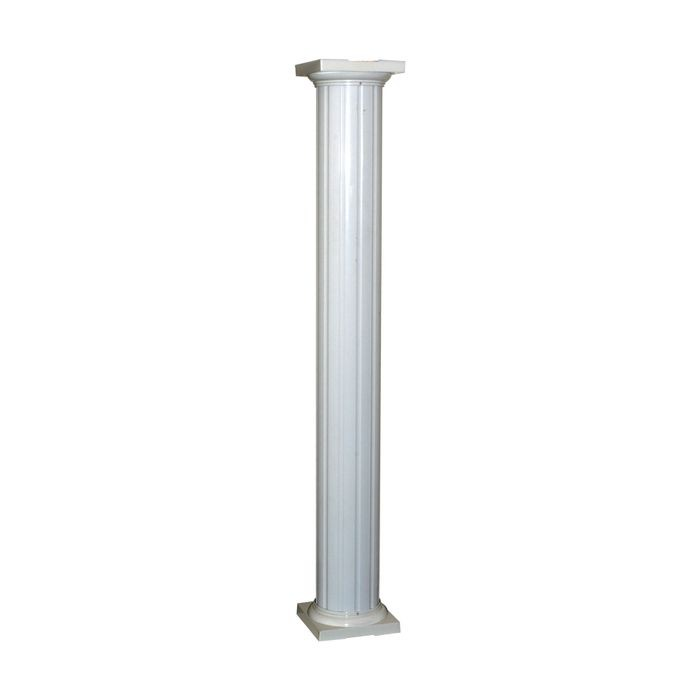 "10' High x 10"" Wide White Classic Round Fluted Aluminum Column Wrap"