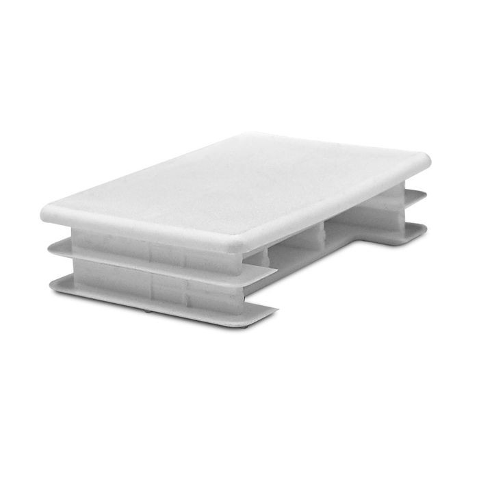 2in x 3in Rectangular | 14 - 23 Gauge | White Matte Finish Low Density Polyethylene | Plastic Universal Gauge Inside End Cap for Tubing