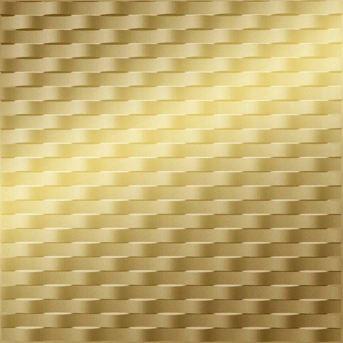 10' Wide x 4' Long Weave Pattern Mirror Gold Finish Thermoplastic Flexlam Wall Panel