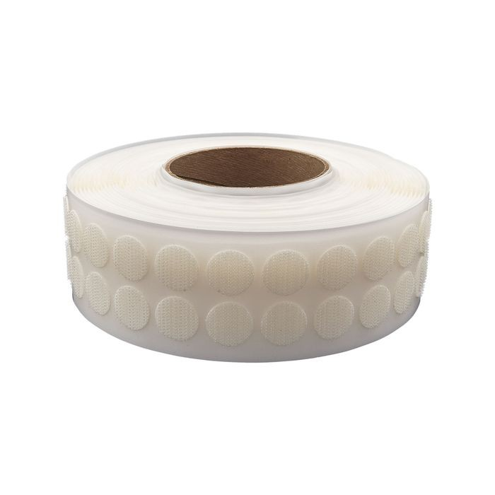 "1/2"" Diameter White Standard Grade Velcro Hook Fastening Coin 1440 Pieces Per Roll"